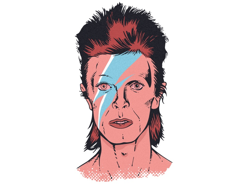 Aladdin Sane david bowie vector art illustration portrait illustration rockandroll vector drawing sketch portrait bowie
