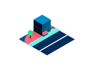Water front illustration miniature building waterfront isometric