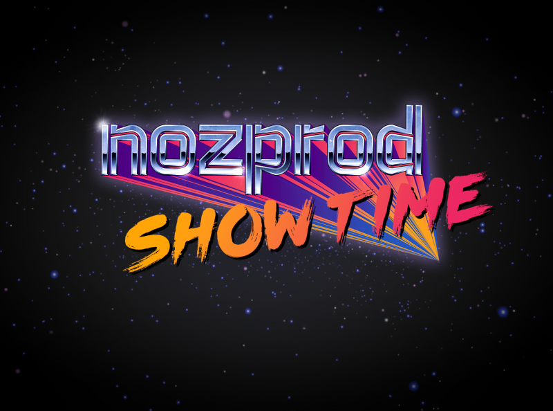 Nozprod's Show Time - Stream title chrome retrowave retro typography logo vector branding design illustration
