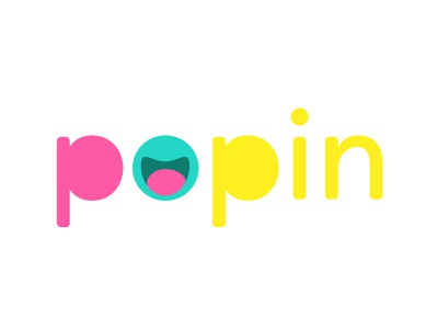 Logo design for Popin app popin logo happy blue yellow pink app ios