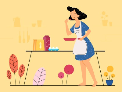 Cooking app illustration vector illustration clean character vectors graphicdesign app web illustration interaction design webdesign illustration art ui vector concept design illustrator