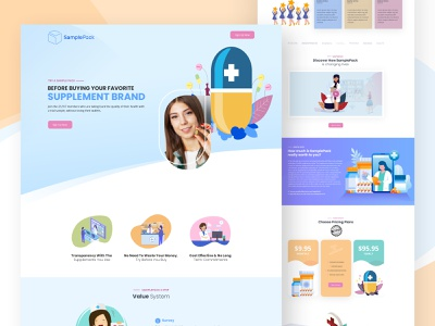 Sample Pack landing page product medicine landing page medicine pill ecommerce design cbd web design cbd page design cbd product design ux product landing page minimal landign page ui development agency design debut shot branding creativepeoples agency