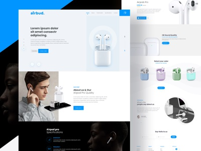 Airbud Landing Page UI airport ui ux airpod landing page ui ux designer apple product airpod ui ux design minimal illustration typography development agency landign page design debut shot branding creativepeoples agency