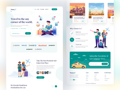 Travel Website Home Page airbnb booking website illustraion ux debut shot landign page agency creativepeoples tour travel agency logo travel agency website travel landing page travel app tourist app tourism tour guide tour website traveling travel agency