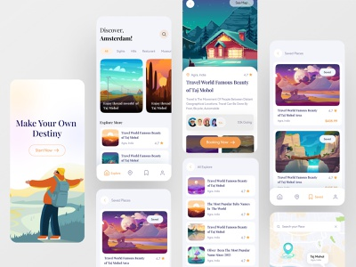 Travel App Ui design ui illustration development agency debut shot agency creativepeoples branding app app development app design booking app tour app travel app app ui