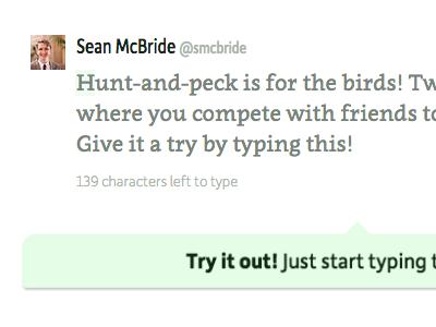 Tweetype Logged-Out Detail tweetype twitter games game typing tweet moretype clavo depot new dada studio