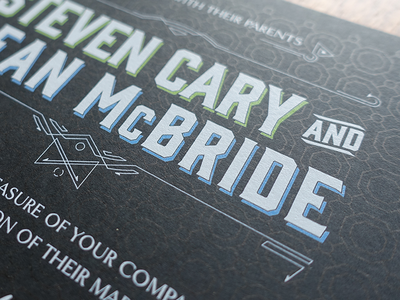 Wedding Invitation Detail printing paper wedding formal gin white ink black tie fort foundry