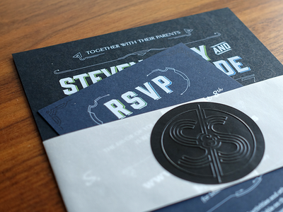 Wedding Invitation Package wedding invitation rsvp printing print embossing sticker vellum gin white ink fort foundry