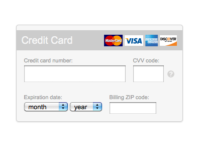 Credit card form payment form credit card typekit