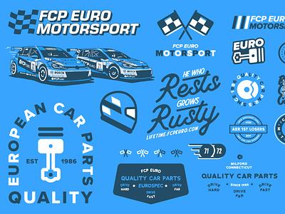 FCP Euro left overs car badge logo typography volkswagen branding automotive motorsport icon illustration