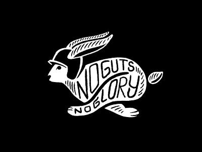 No Guts No Glory lettering typography animal race helmet helmet rabbit motorsport sketch illustration