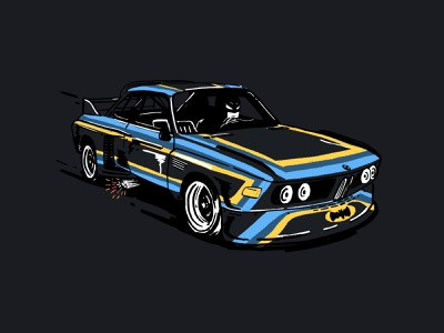 Batmobile CSL sketch automotive classic classic car motorsport ipadpro ipad procreate illustration 6series csl bmw batmobile batman