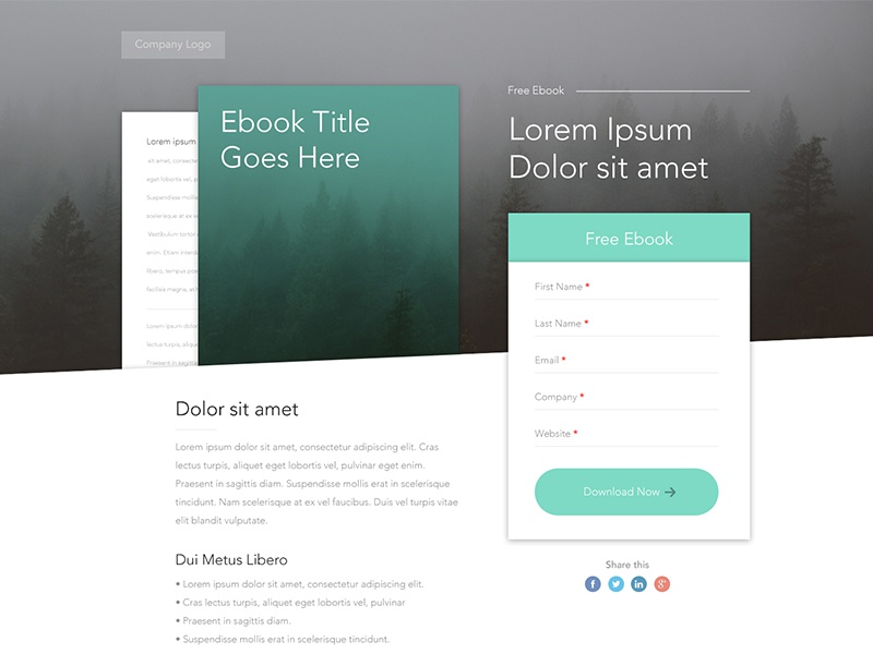 Free Ebook Landing Page Template Ux Ui Form