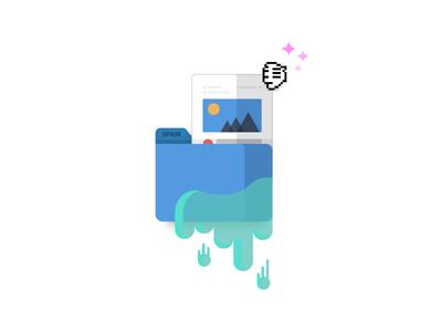 The spam folder ebook interact inbox depth flat goo illustration email