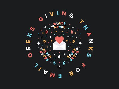 Giving thanks for email geeks 🤓 illustration heart leaves autumn holiday thanksgiving envelope email