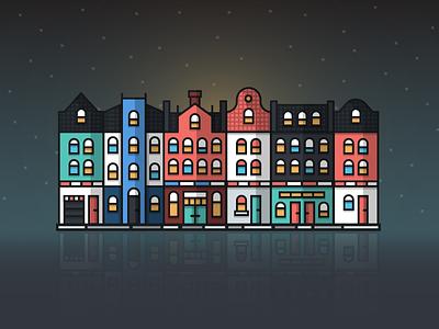 Email Behavior In The Netherlands [Infographic] landscape night reflection shadow depth netherlands buildings illustration