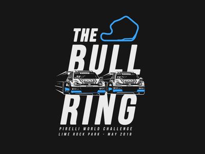 The Bull Ring racecar racetrack limerock typography apparel tshirt gti volkswagen illustration