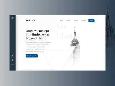 No Limit - Website Header Concept ios identity branding app animation website web vector ux ui typography type minimal logo lettering illustration icon flat design clean
