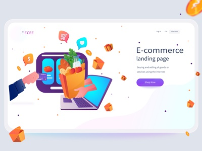 E-commerce online shopping - landing page homepage website website design product interface clean ui vector illustration webdesign ux ui food shop sale typography web ecommerce e-commerce market landing