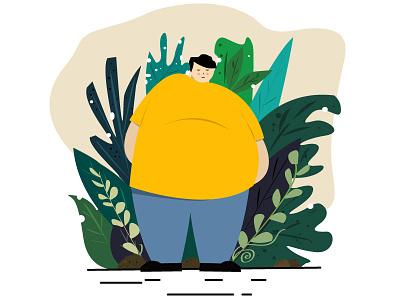 Fat man illustration website web flat vector design illustration flat illustration