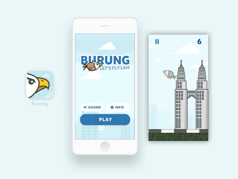 Burung - Malaysian Flappy Bird flappy bird malaysia cloud character branding blue ui design game app mobile