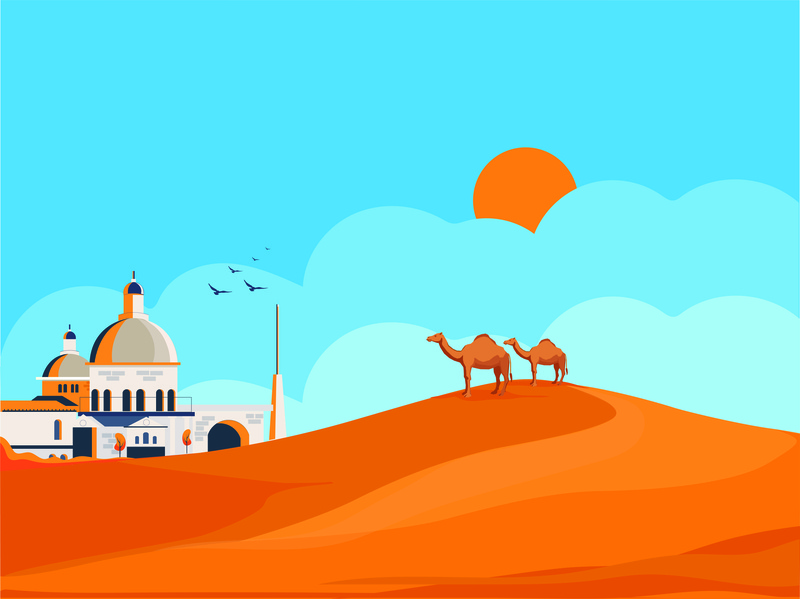 Camels on a Desert Humph clouds sky crow sun mosque animation 2d beauty design hump desert animation creative art creative illustration camels camel