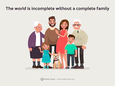 World Family Day - DoodleMango animation 2d parents dog beauty graphic animation design charecter design charecter digital art illustration creative illustration creative art animation family guy family