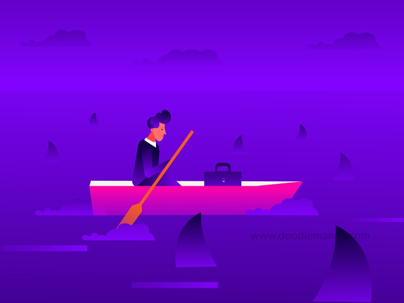 In the Middle of Business Sharks boat sea creative art explainer video corporate video business sharks 2d animation illustration creative illustration