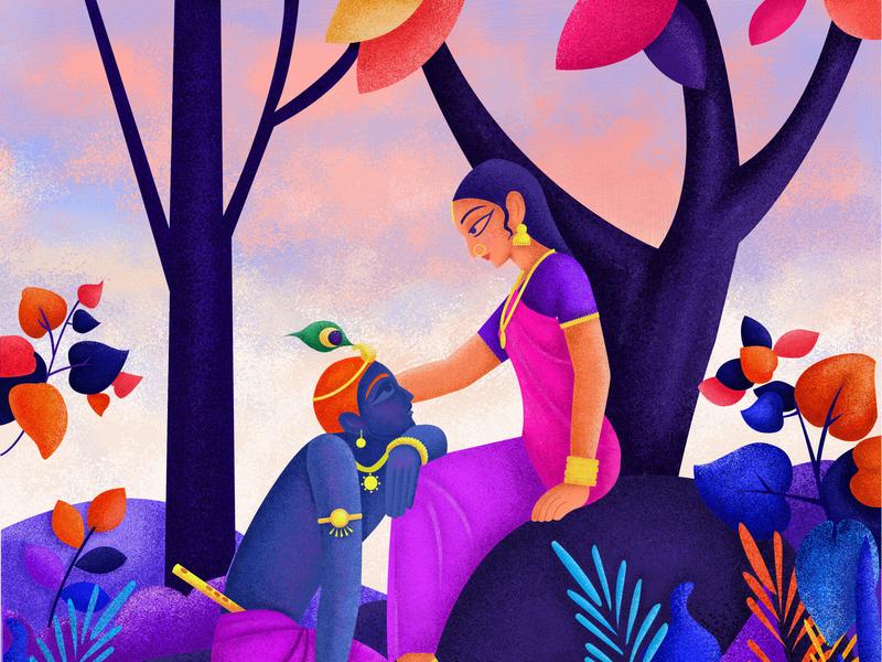 Radha Krishna - Eternal Evening design digital art dribble drawing 2d art 2d animation illustration creative illustration creative art beauty wallpaper evening krishna radha