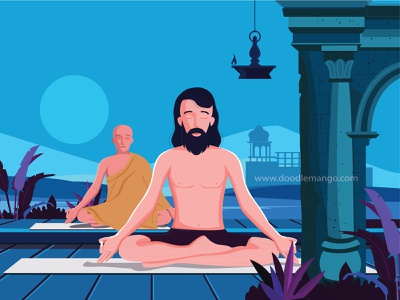 Happy Yoga Day - Doodlemango yogi workout excercise fitness meditation art illustration creative art yoga yoga pose