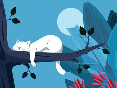 Sleepy Cat on a Tree - Creative Illustration