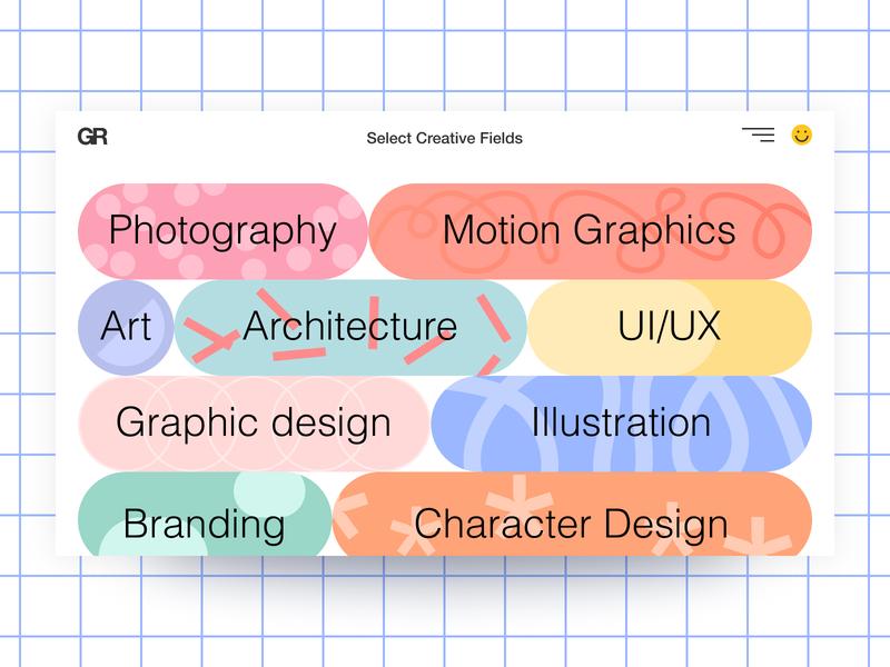 GR illustration website flat typography ux ui design