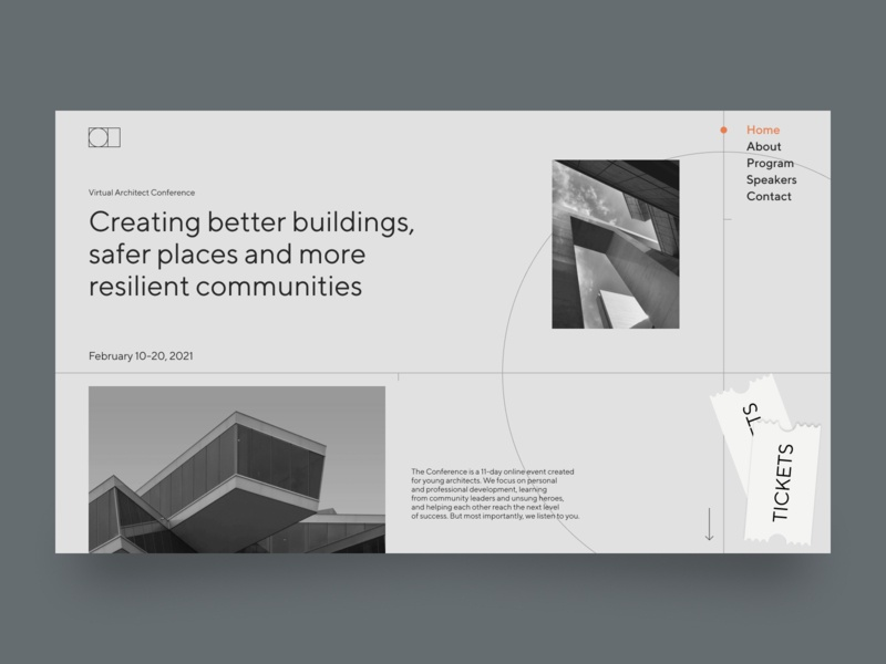 Architect Conference Home Page blackandwhite line grey architecture architect minimal web website ux ui typography design