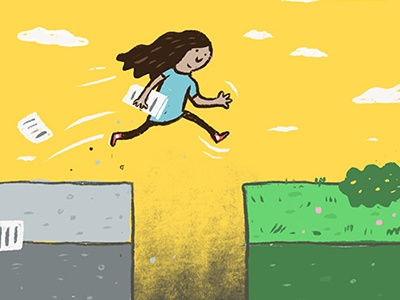 Editorial Illustration illustration quickjosh joshquick jump cement grass leap