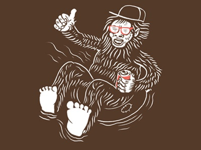Sasquatch Shirt Design for Lucky Monkey quickjosh joshquick illustration thumbsup river innertube cda bigfoot sasquatch