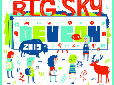 Big Sky Dev Con 2019 dev logo bigfoot josh quick montana illustration joshquick