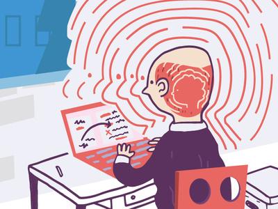Editorial Illustration writer trauma illustration growing
