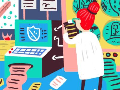 Editorial Illustration for Submittable computer arts scientist clipboard blue beaker got genre blog computer joshquick