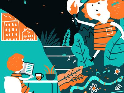 Editorial Illustration for Submittable jungle appartment condo reading app reading doom adventure digital texture joshquick kids illustration author kidlit