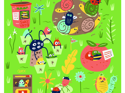 Fair Poster for the City of Missoula ladybugs foliage insects bugs flat joshquick illustration digital summer flowers green tomato rides fair carnival