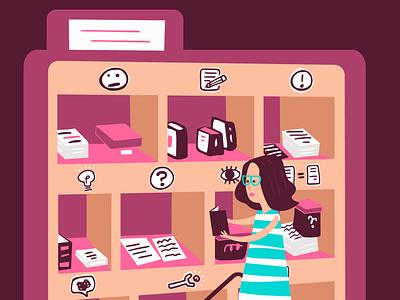 Editorial Illustration for Submittable missoula josh quick quickjosh blog writer stripes blue icons books digital glasses woman purple illustration joshquick