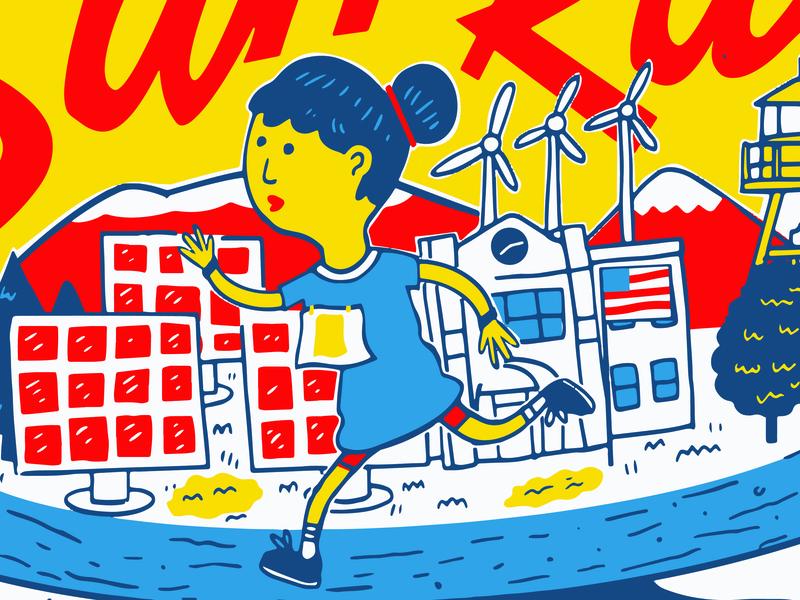 Shirt Graphic for Solar Fundraiser amerika digital track bike helena alternative energy runner woman red blue yellow solar