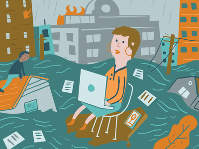Editorial Illustration for Submittable missoula josh quick joshquick josh-quick houses illustration paper tree earing hoop fire building house laptop storm flood blue writer
