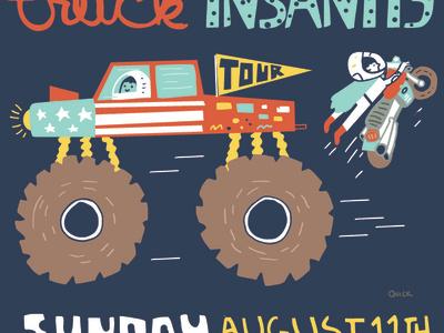 Monster Truck Insanity typography dirt speed air stickers amerika usa helmet digital digitaldrawing sunday tires blue illustration motocross evel monstertruck