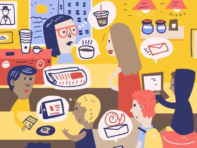 Editorial Illustration for Submittable design art coffee pink blue yellow software joshquick digital illustration design