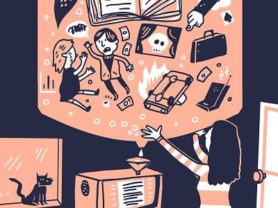 Blog Illustration for Submittable holdingitup danger story linework art digitalart watercooler pink skull fire words book illustration joshquick