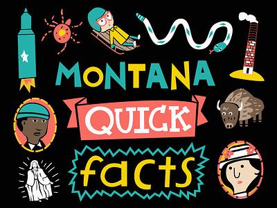 Cover for my book 'Montana Quick Facts' buffalo sled missile procreate digitalart black illustration joshquick