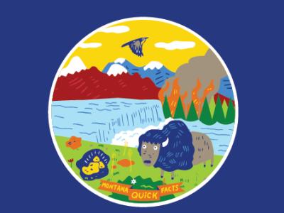 Montana Quick Facts sticker to accompany book. art buffalo art deco digital green orange illustration state montana blue orang sticker