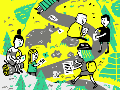 Illustration for Submittable campers trail software illustration digital gray yellow blue mountain critique author writer