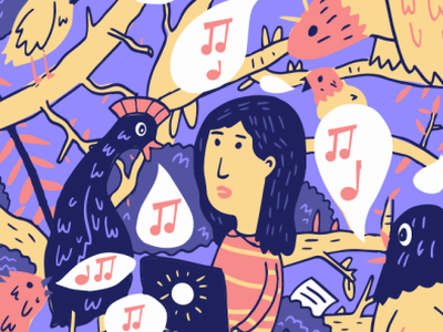 Editorial Illustration for Sumbittable red woman stripes annoy music bird purple illustration submittable